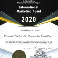 St. Kitts and Nevis Citizenship by Investment International Marketing Agent Certificate for 2020