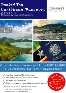 St.Kitts & Nevis Passport – Contribution discounted to USD 150,000 for family application