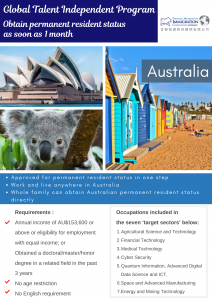 Obtain permanent resident status as soon as 1 month
